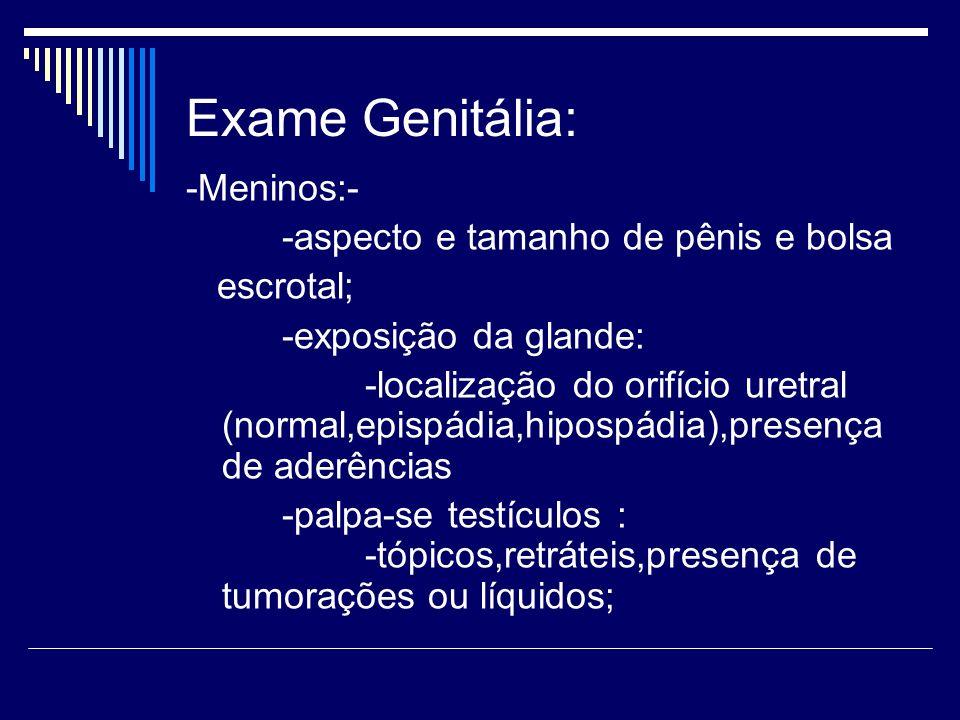 Exame Genitália: -Meninos:- -aspecto e tamanho de pênis e bolsa