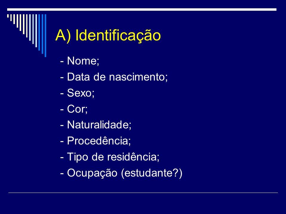 A) Identificação - Nome; - Data de nascimento; - Sexo; - Cor;