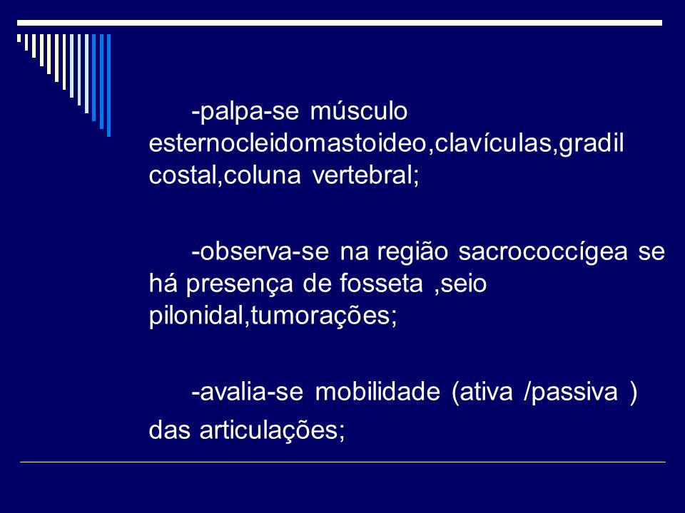 -palpa-se músculo esternocleidomastoideo,clavículas,gradil costal,coluna vertebral;
