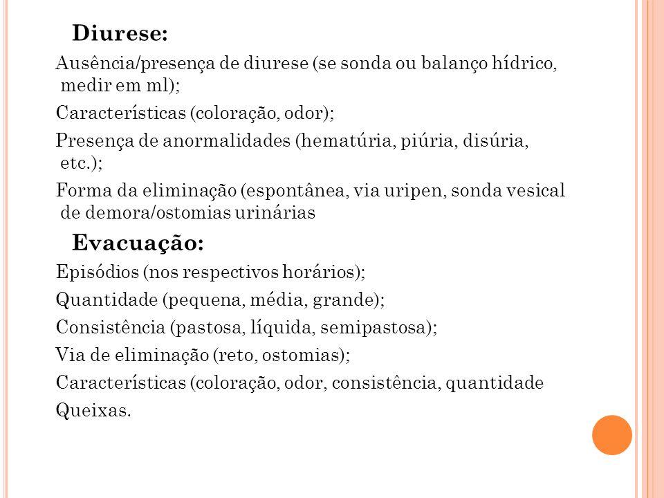 Diurese:Ausência/presença de diurese (se sonda ou balanço hídrico, medir em ml); Características (coloração, odor);