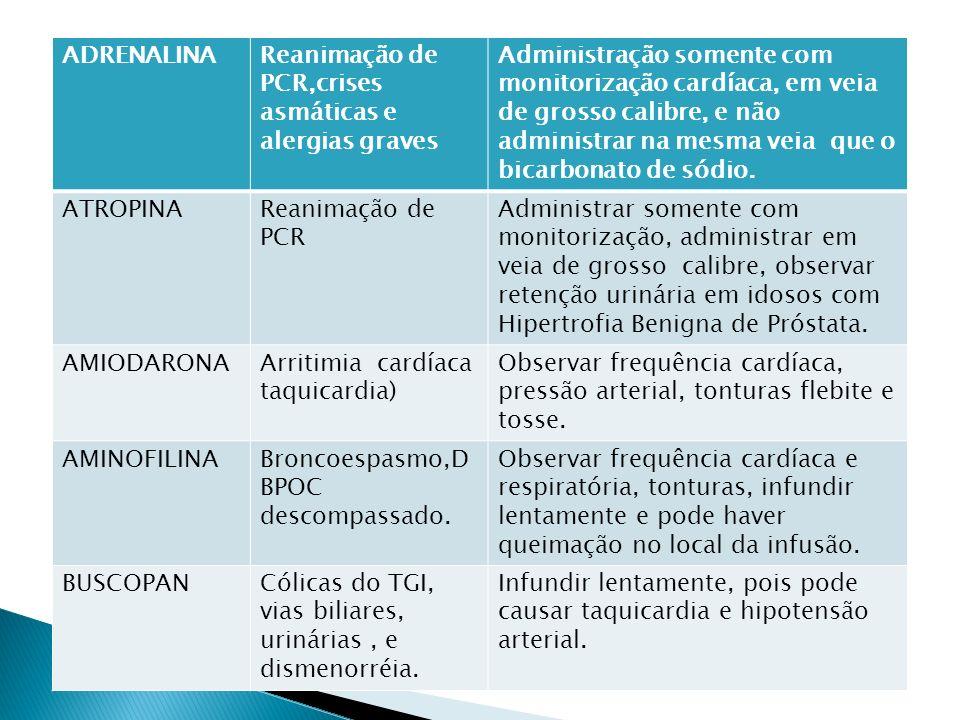 ADRENALINA Reanimação de PCR,crises asmáticas e alergias graves.