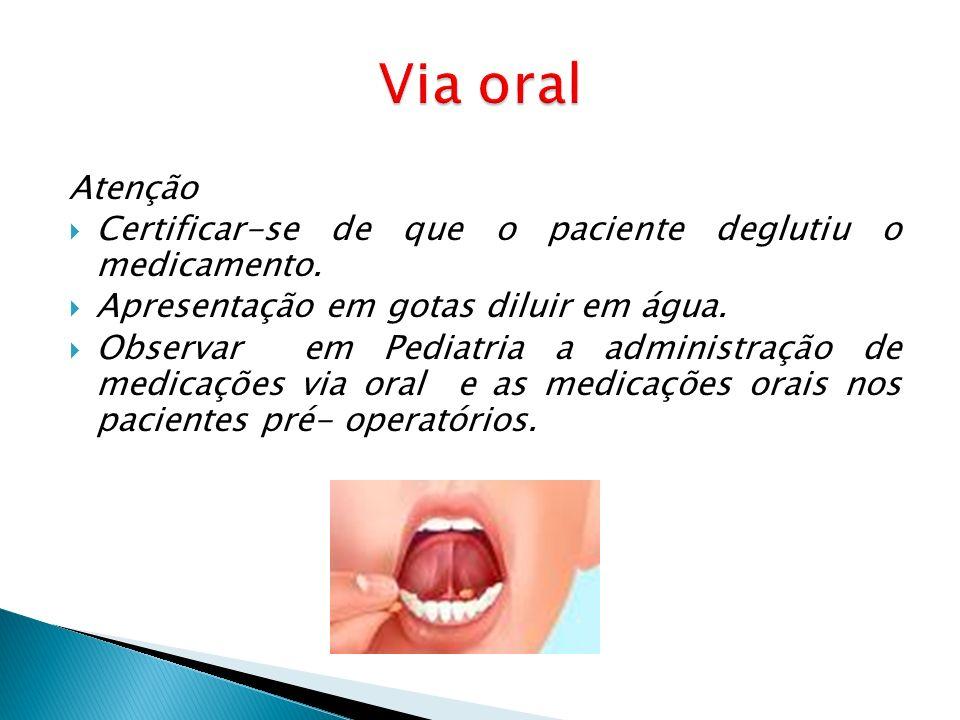 Via oral Atenção. Certificar-se de que o paciente deglutiu o medicamento. Apresentação em gotas diluir em água.