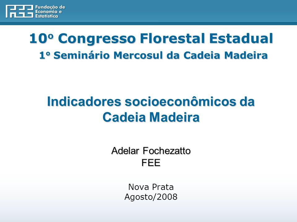 10o Congresso Florestal Estadual 1o Seminário Mercosul da Cadeia Madeira Indicadores socioeconômicos da Cadeia Madeira Adelar Fochezatto FEE Nova Prata Agosto/2008