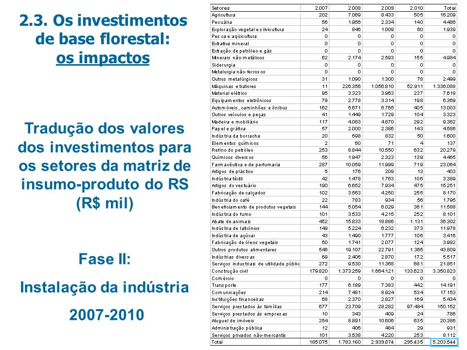2.3. Os investimentos de base florestal: Instalação da indústria