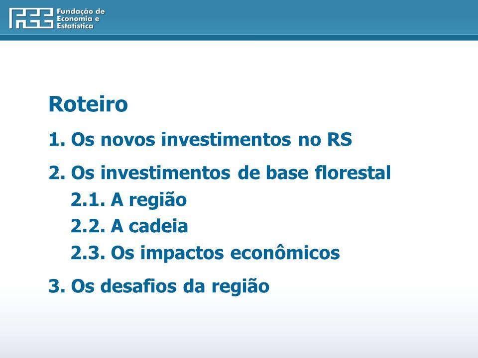 Roteiro 1. Os novos investimentos no RS