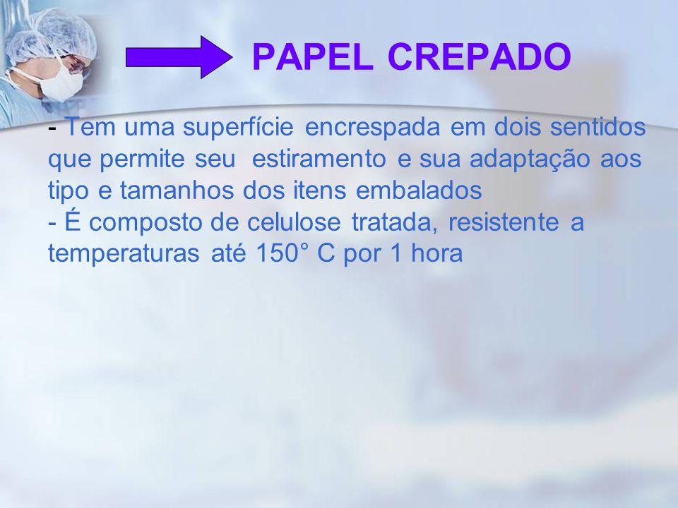 PAPEL CREPADO - Tem uma superfície encrespada em dois sentidos que permite seu estiramento e sua adaptação aos tipo e tamanhos dos itens embalados - É composto de celulose tratada, resistente a temperaturas até 150° C por 1 hora