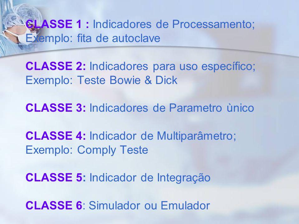 CLASSE 1 : Indicadores de Processamento; Exemplo: fita de autoclave CLASSE 2: Indicadores para uso específico; Exemplo: Teste Bowie & Dick CLASSE 3: Indicadores de Parametro ùnico CLASSE 4: Indicador de Multiparâmetro; Exemplo: Comply Teste CLASSE 5: Indicador de Integração CLASSE 6: Simulador ou Emulador