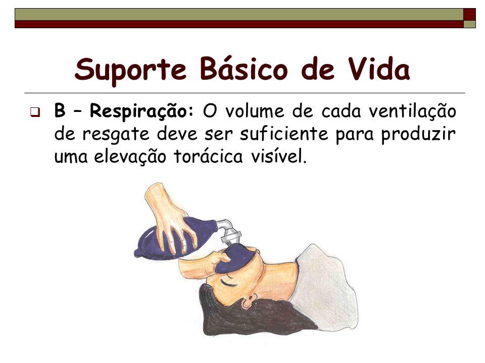 Suporte Básico de VidaB – Respiração: O volume de cada ventilação de resgate deve ser suficiente para produzir uma elevação torácica visível.