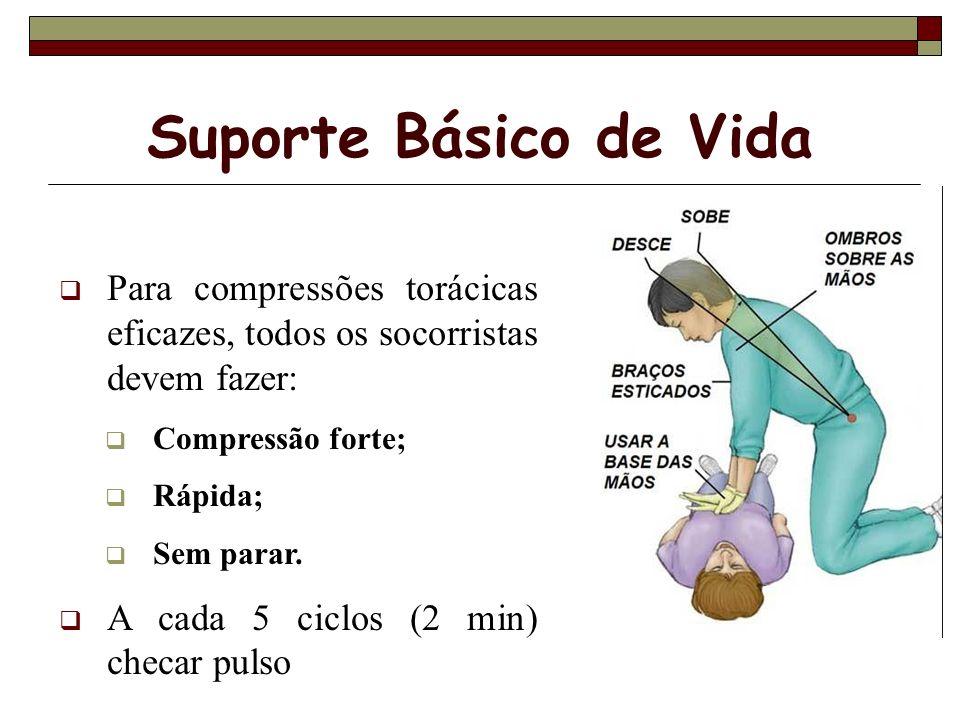 Suporte Básico de Vida Para compressões torácicas eficazes, todos os socorristas devem fazer: Compressão forte;