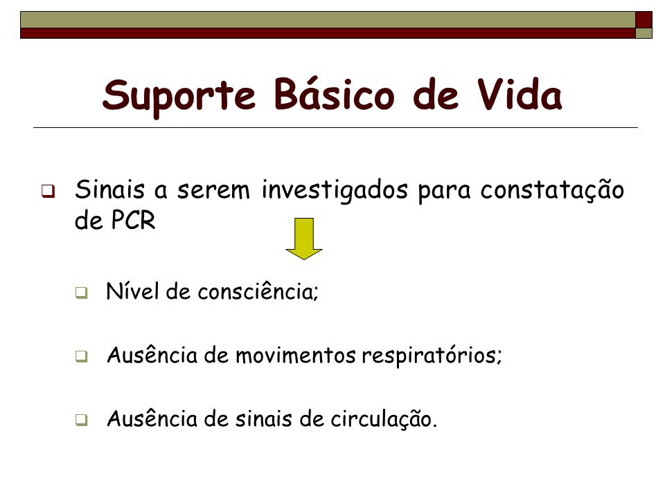 Suporte Básico de VidaSinais a serem investigados para constatação de PCR. Nível de consciência; Ausência de movimentos respiratórios;