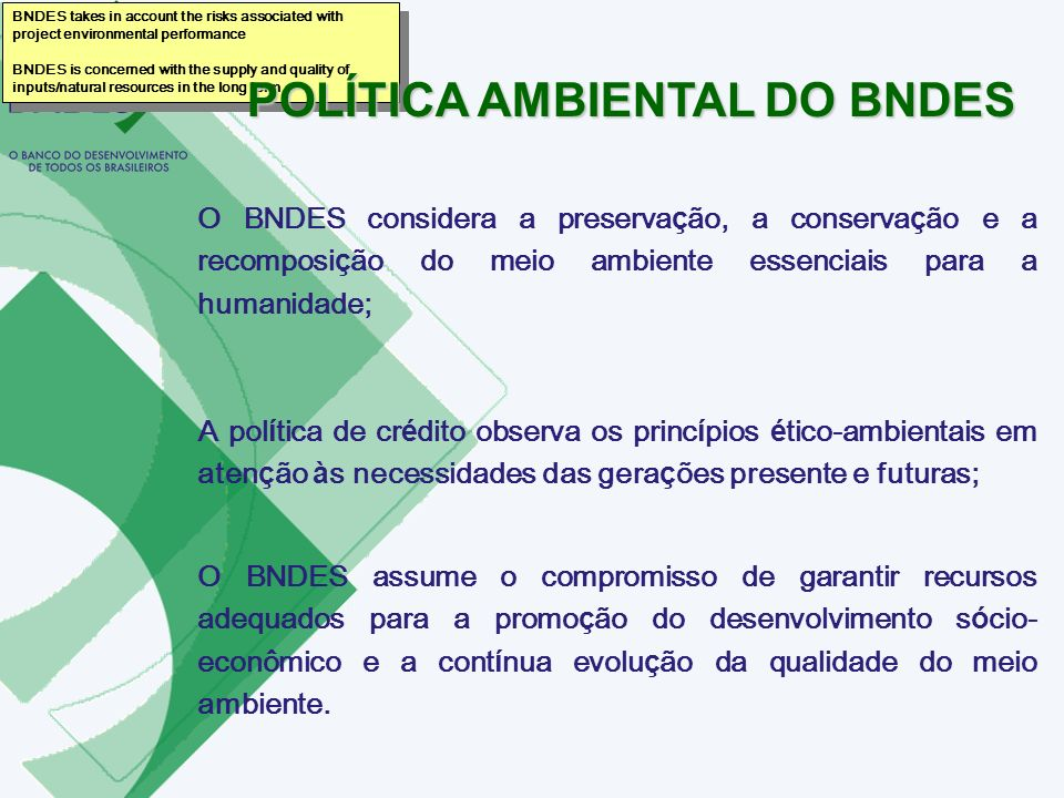POLÍTICA AMBIENTAL DO BNDES