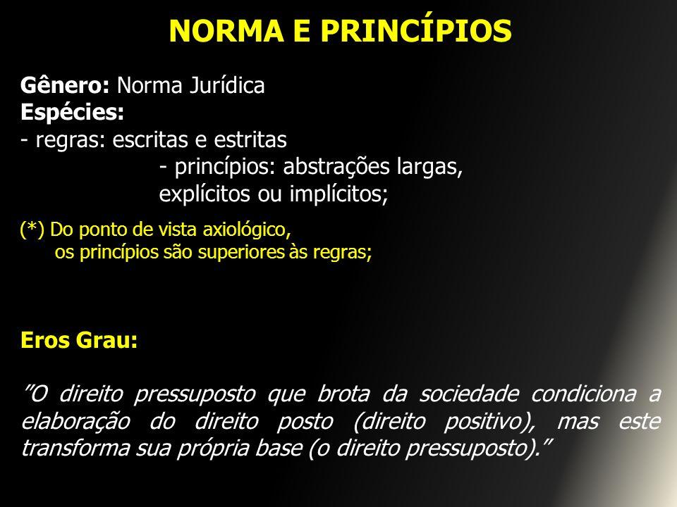 NORMA E PRINCÍPIOS Gênero: Norma Jurídica Espécies: