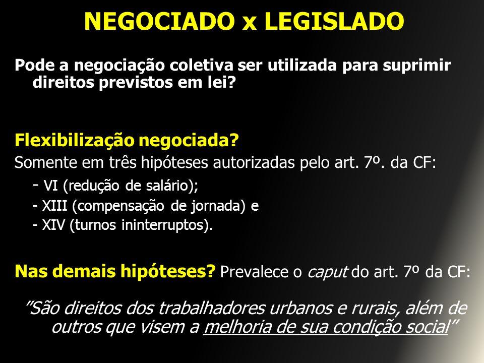 NEGOCIADO x LEGISLADO Flexibilização negociada