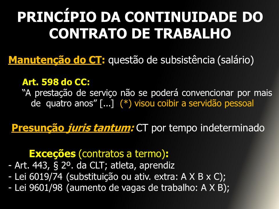 PRINCÍPIO DA CONTINUIDADE DO CONTRATO DE TRABALHO