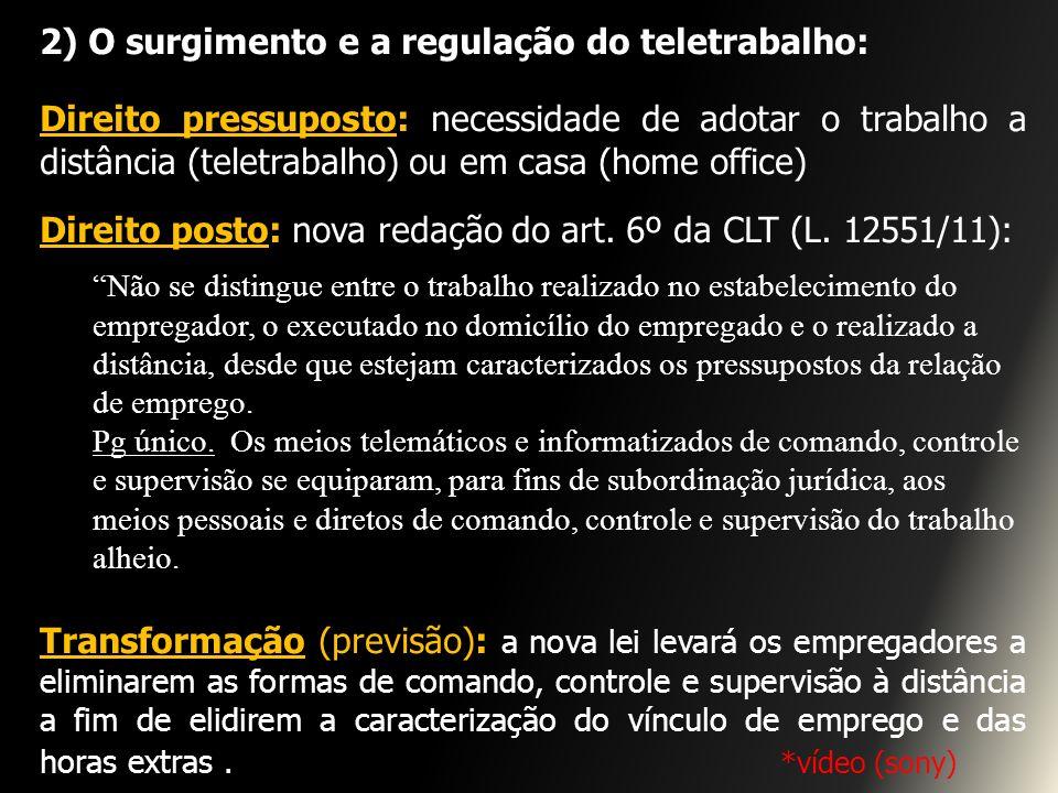 2) O surgimento e a regulação do teletrabalho: