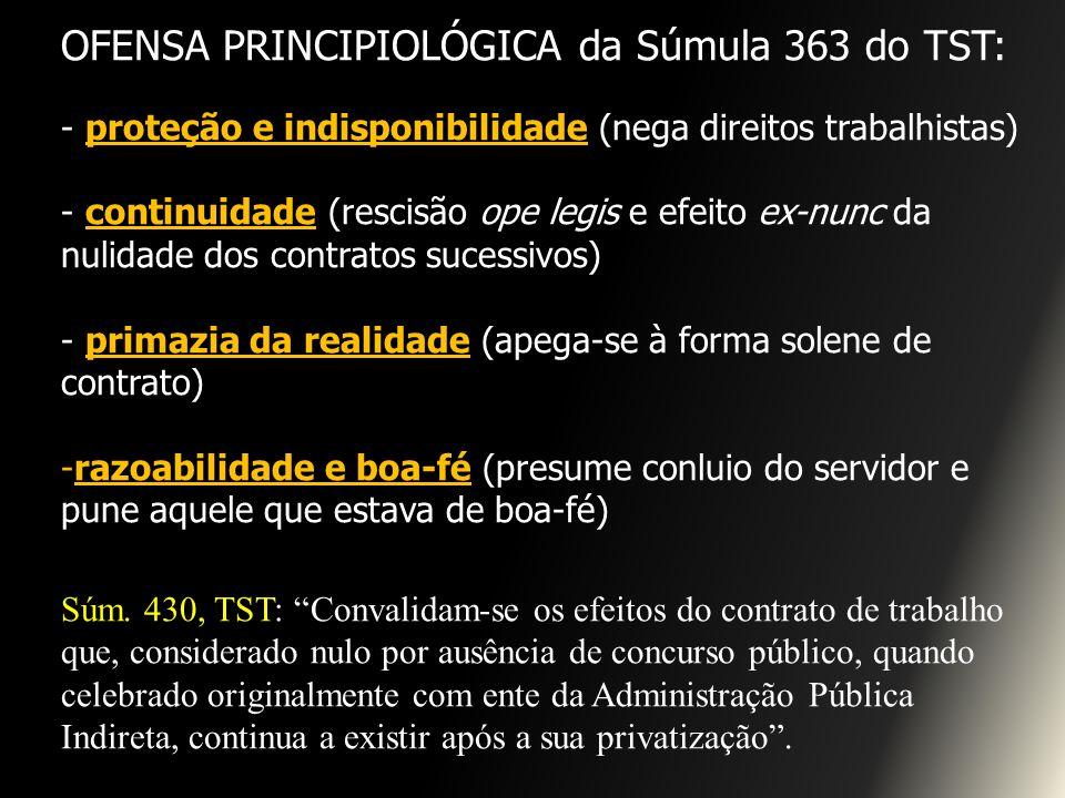OFENSA PRINCIPIOLÓGICA da Súmula 363 do TST: