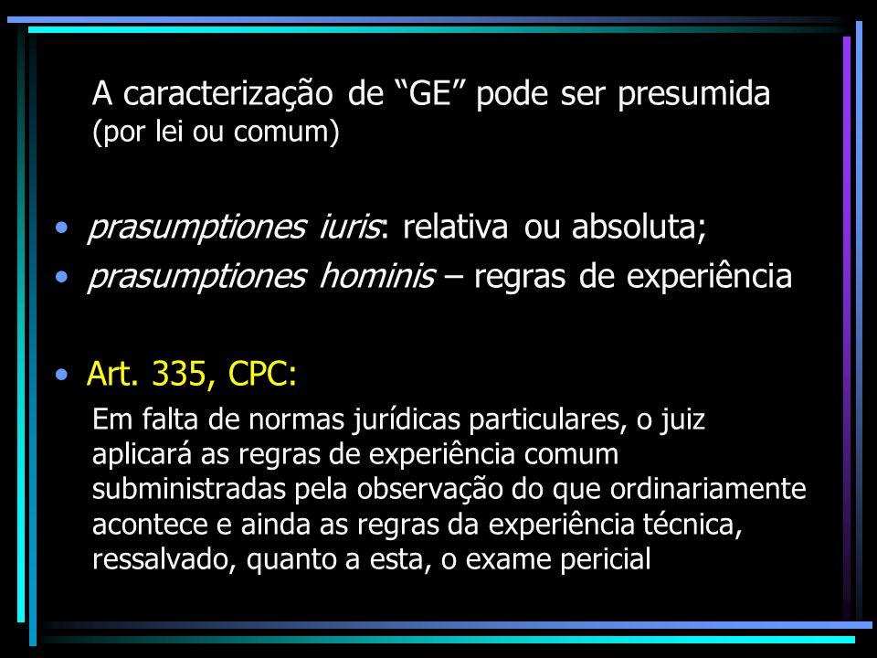 A caracterização de GE pode ser presumida (por lei ou comum)