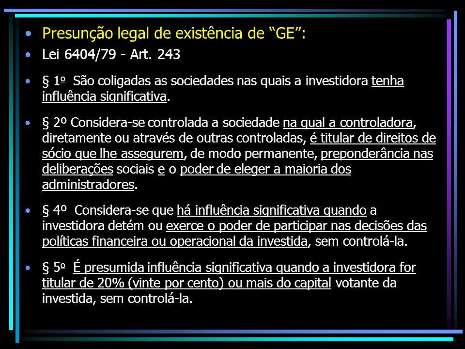 Presunção legal de existência de GE :