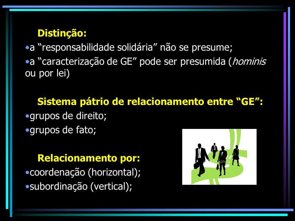Distinção: a responsabilidade solidária não se presume; a caracterização de GE pode ser presumida (hominis ou por lei)