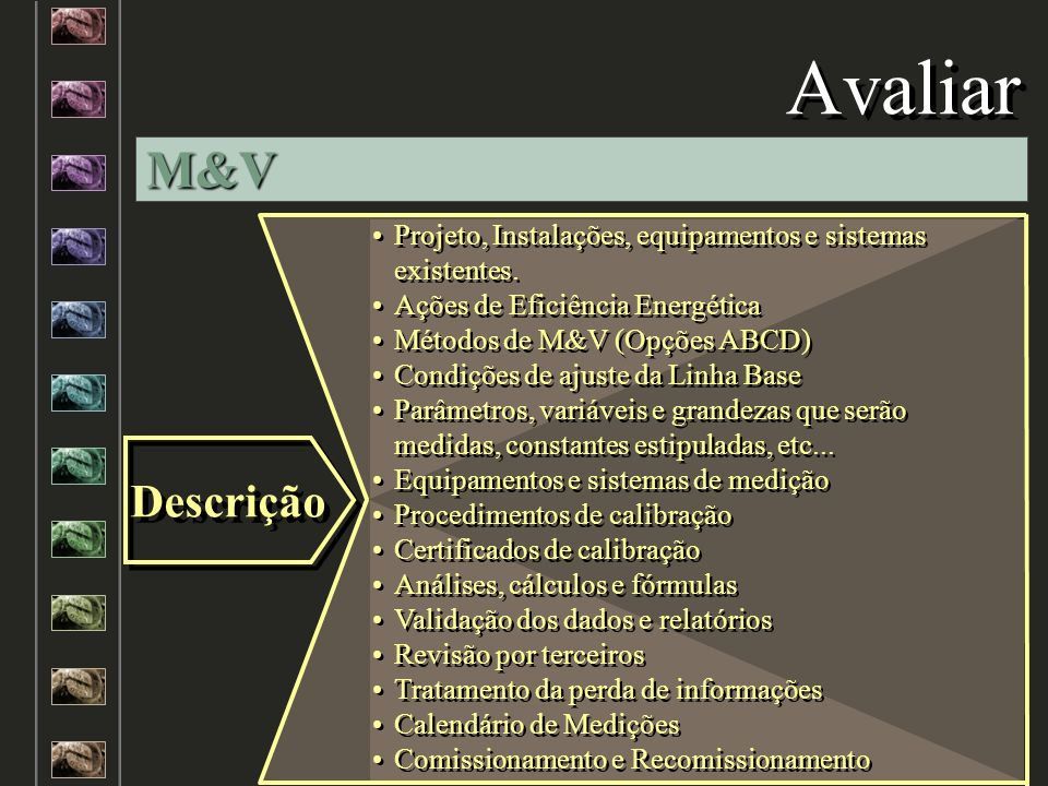 Avaliar M&V. Projeto, Instalações, equipamentos e sistemas existentes. Ações de Eficiência Energética.