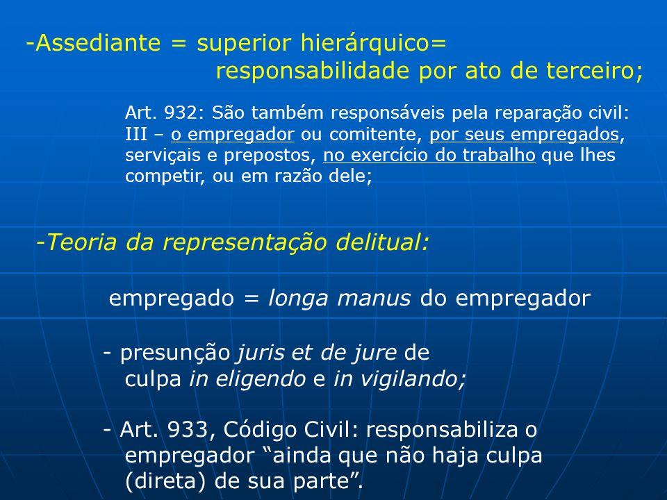 Assediante = superior hierárquico=