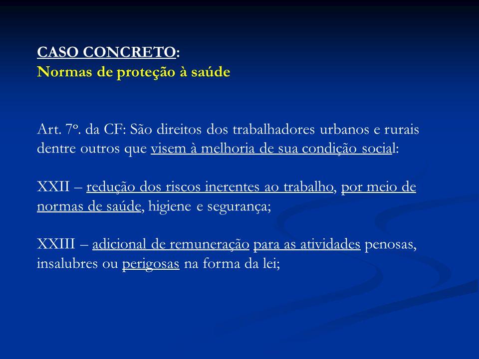 CASO CONCRETO: Normas de proteção à saúde.