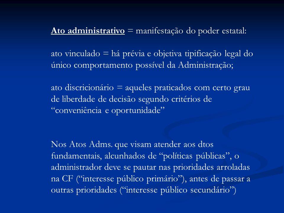 Ato administrativo = manifestação do poder estatal: