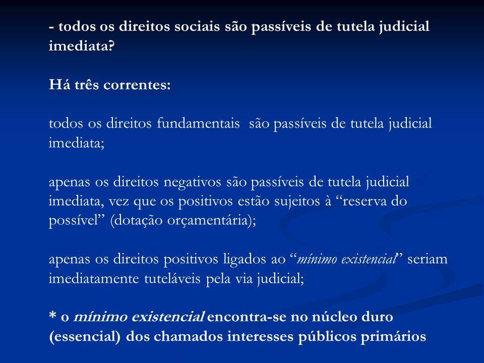 - todos os direitos sociais são passíveis de tutela judicial imediata