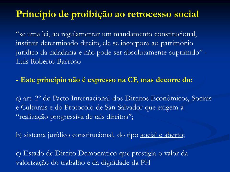 Princípio de proibição ao retrocesso social