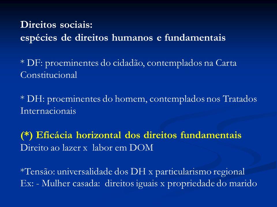 espécies de direitos humanos e fundamentais