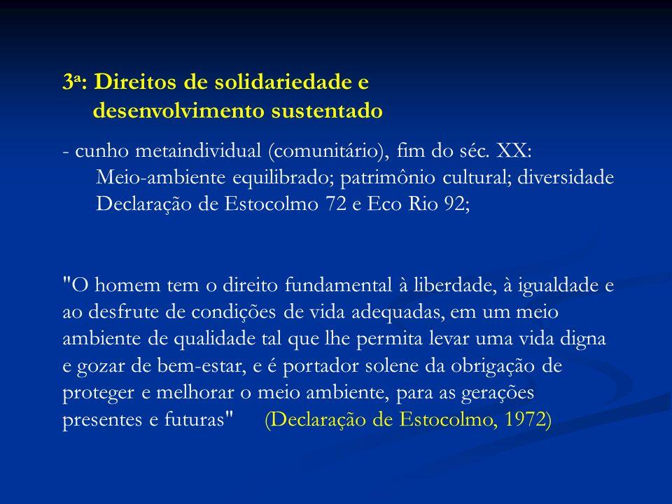 3a: Direitos de solidariedade e desenvolvimento sustentado