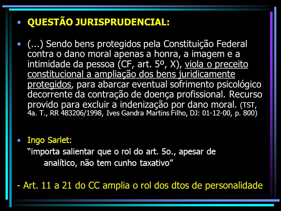 QUESTÃO JURISPRUDENCIAL: