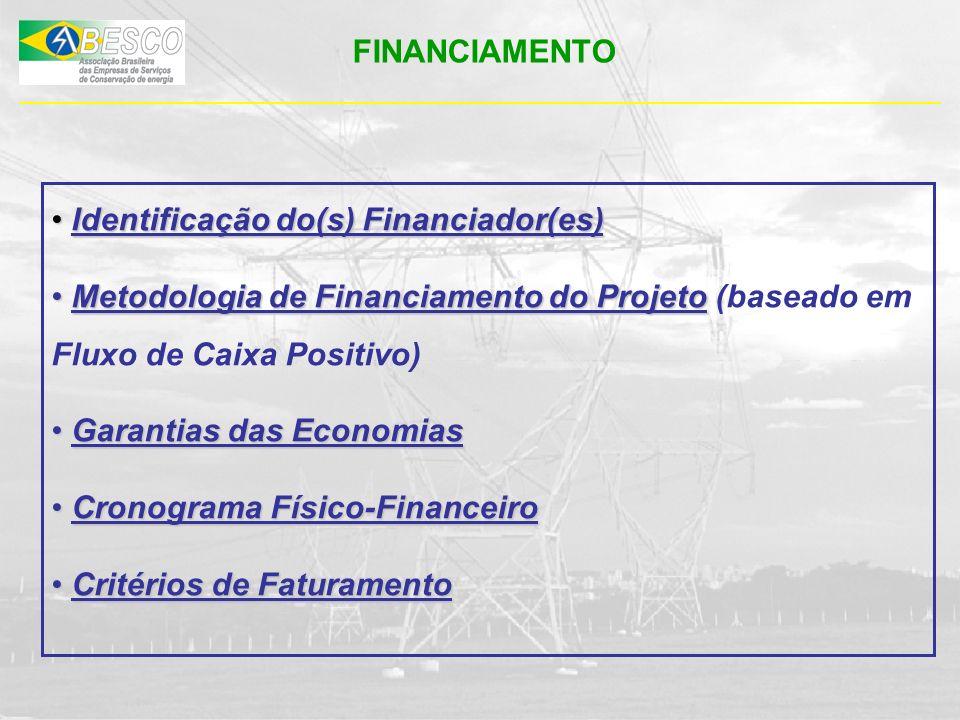 FINANCIAMENTO Identificação do(s) Financiador(es) Metodologia de Financiamento do Projeto (baseado em Fluxo de Caixa Positivo)