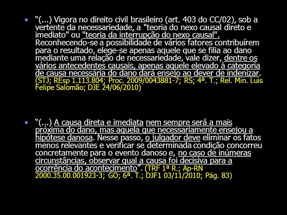 (. ) Vigora no direito civil brasileiro (art
