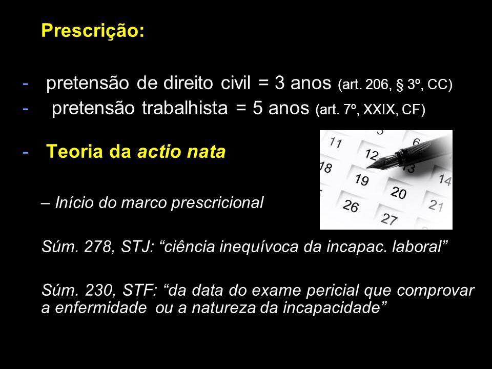 Prescrição: pretensão de direito civil = 3 anos (art. 206, § 3º, CC)