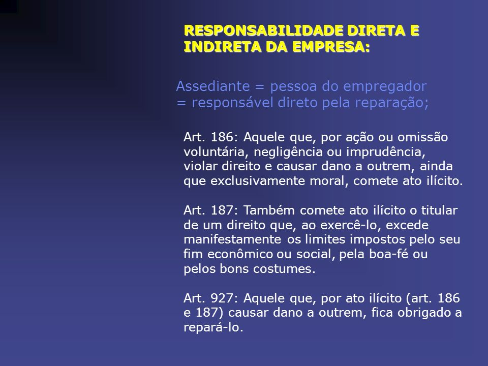 RESPONSABILIDADE DIRETA E INDIRETA DA EMPRESA: