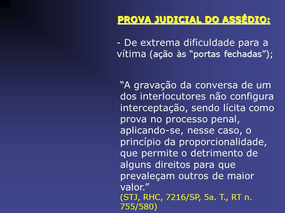 PROVA JUDICIAL DO ASSÉDIO: