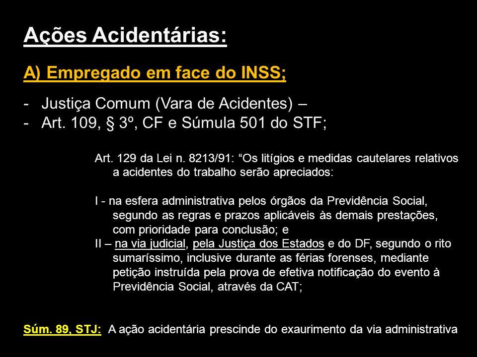 Ações Acidentárias: A) Empregado em face do INSS;