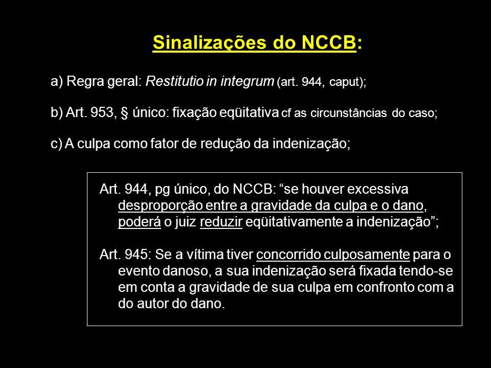 Sinalizações do NCCB: a) Regra geral: Restitutio in integrum (art. 944, caput);