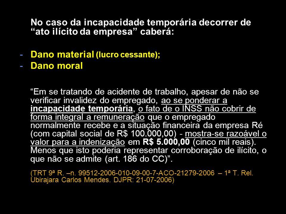 Dano material (lucro cessante); Dano moral