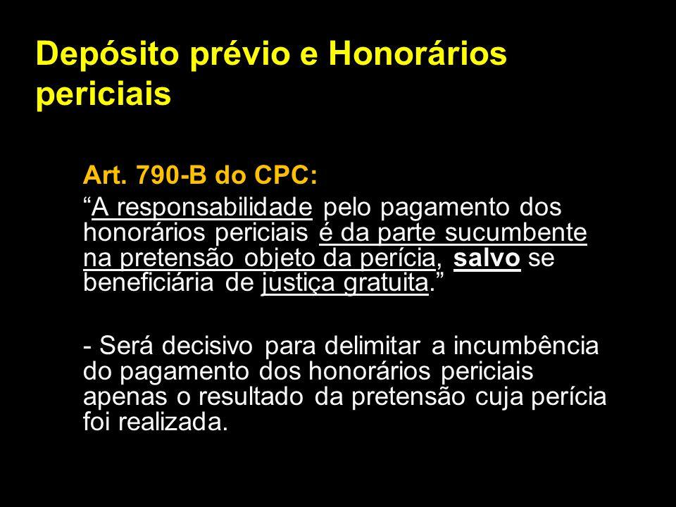 Depósito prévio e Honorários periciais