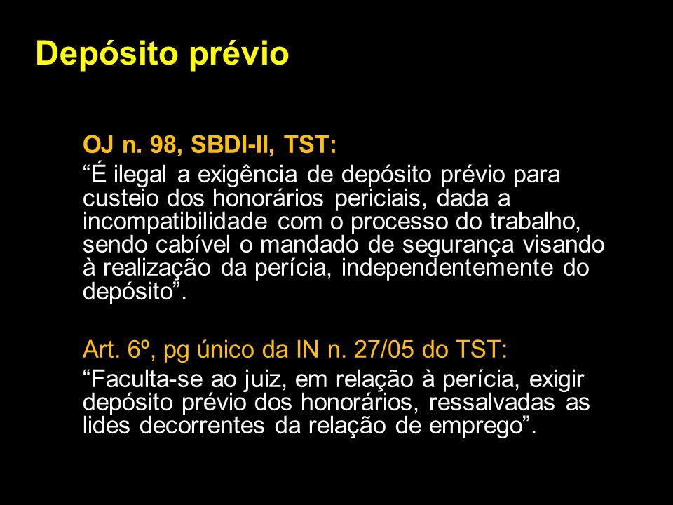Depósito prévio OJ n. 98, SBDI-II, TST: