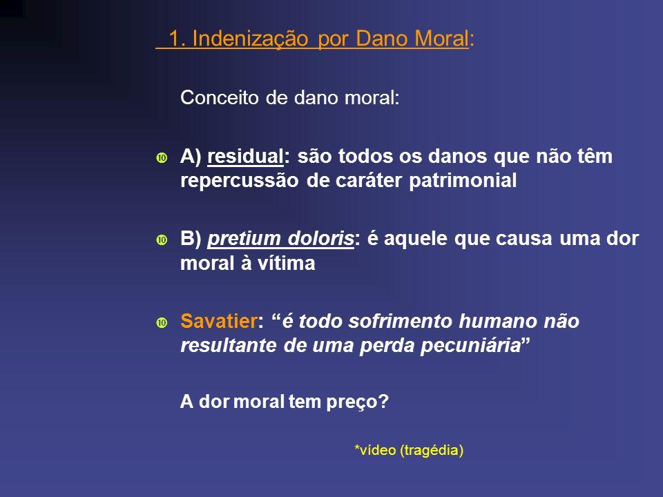 1. Indenização por Dano Moral: