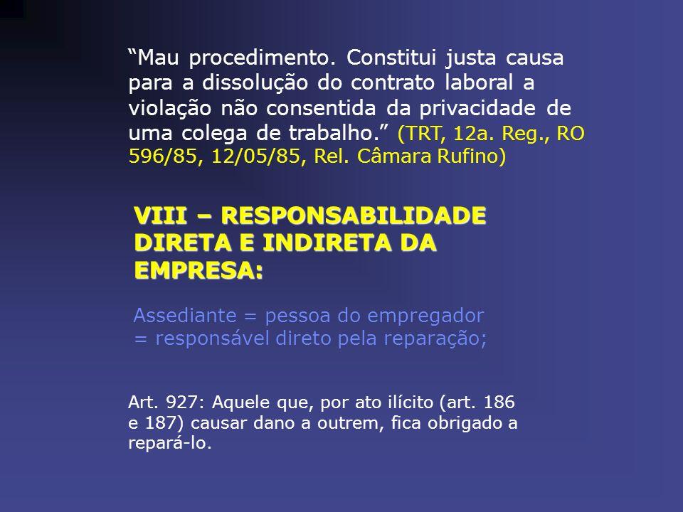 VIII – RESPONSABILIDADE DIRETA E INDIRETA DA EMPRESA: