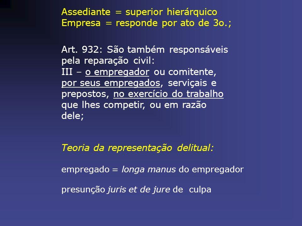 Assediante = superior hierárquico Empresa = responde por ato de 3o.;