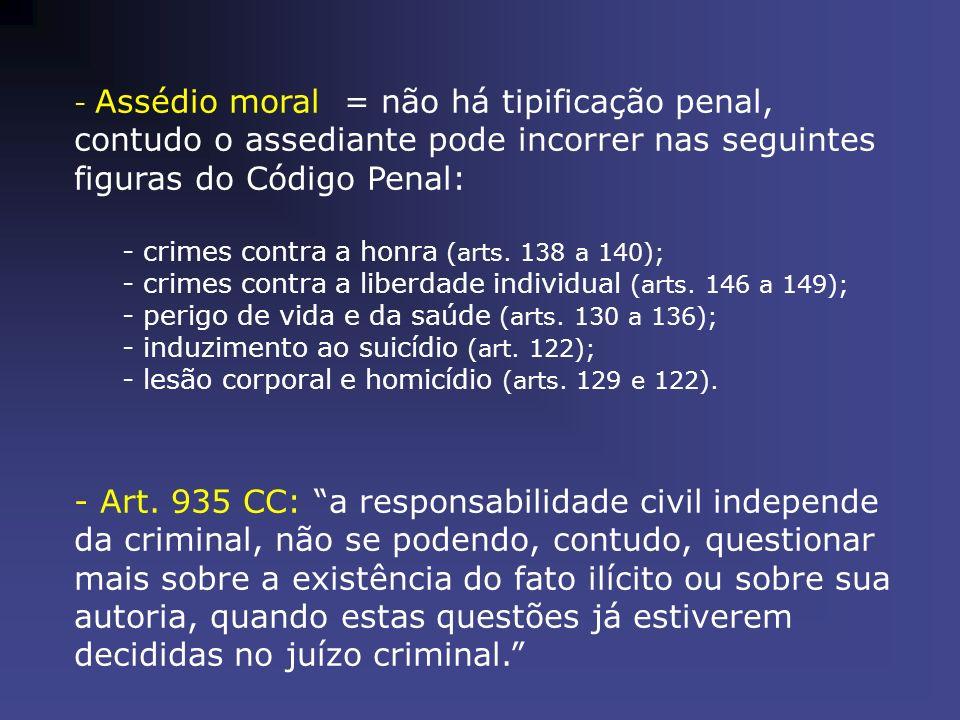 Assédio moral = não há tipificação penal, contudo o assediante pode incorrer nas seguintes figuras do Código Penal: