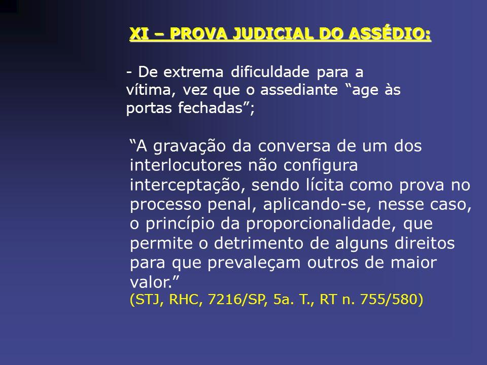 XI – PROVA JUDICIAL DO ASSÉDIO: