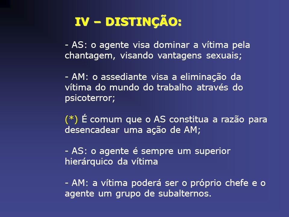 IV – DISTINÇÃO: AS: o agente visa dominar a vítima pela chantagem, visando vantagens sexuais;