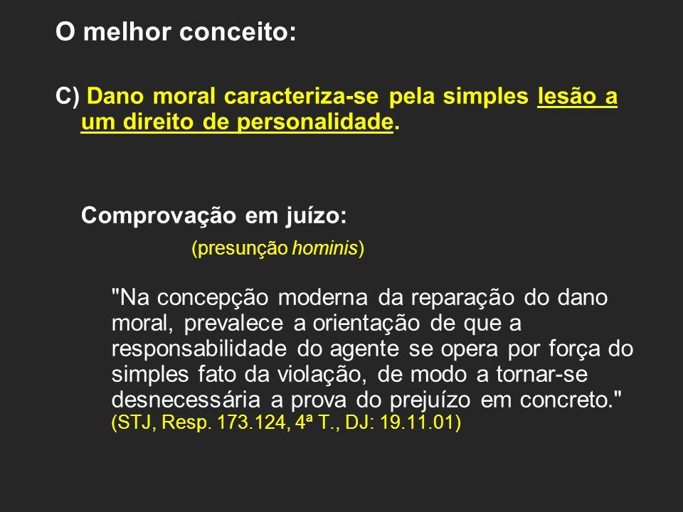 O melhor conceito:C) Dano moral caracteriza-se pela simples lesão a um direito de personalidade. Comprovação em juízo: