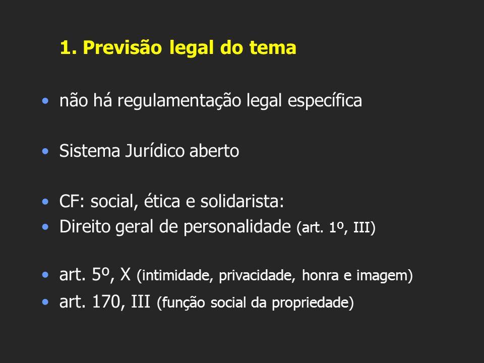 1. Previsão legal do tema não há regulamentação legal específica
